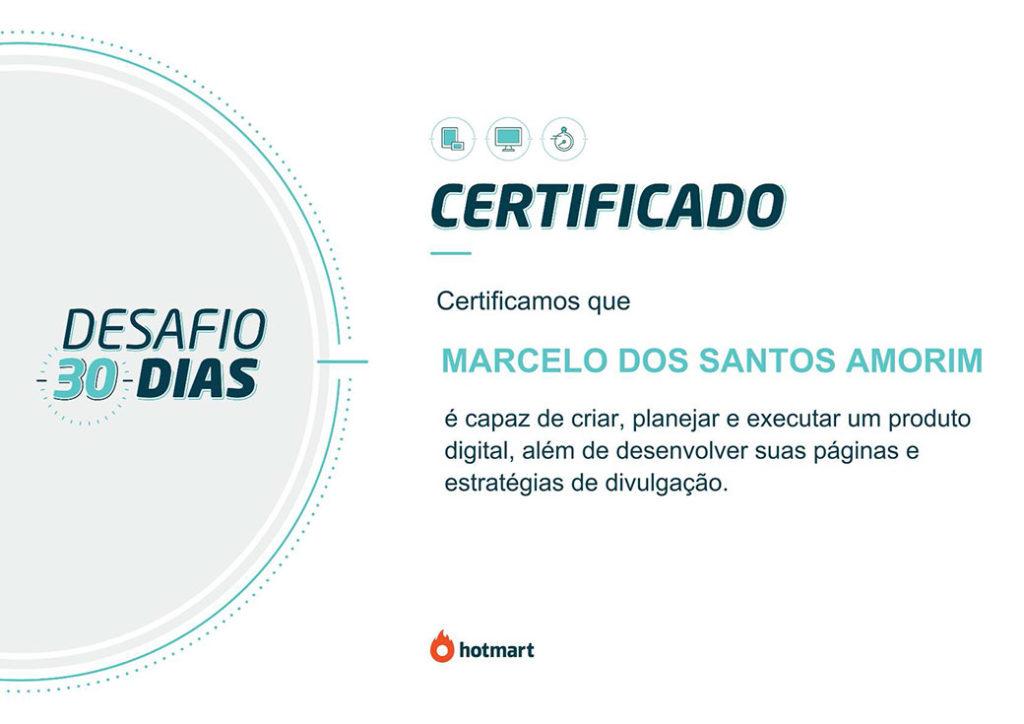 certificado desafio 30 dias